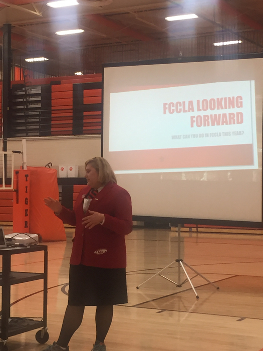 Kate talks to the entire group about upcoming events in FCCLA