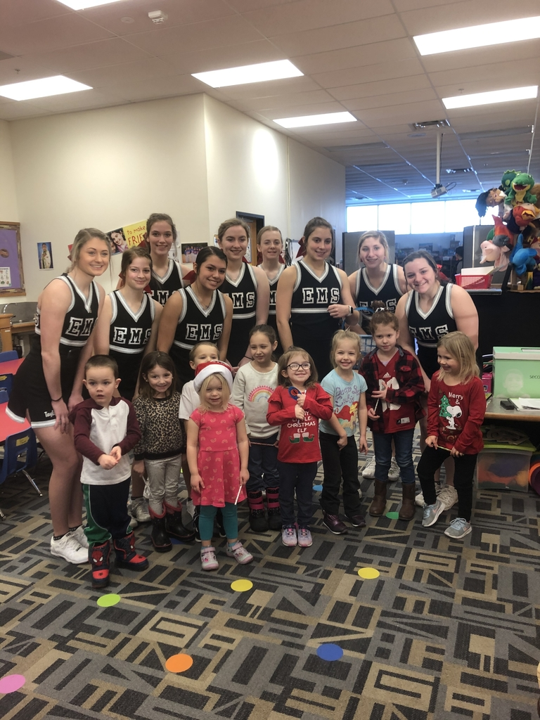 Preschoolers had a visit from the Cheerleaders today!